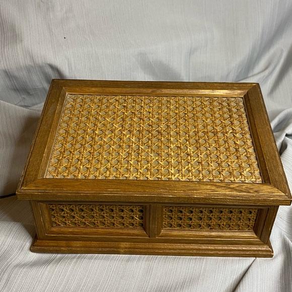 Wooden jewelry box, velvet inside, made in Japan.